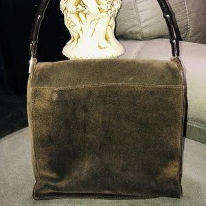 Gucci Suede Flap Front Bamboo Handle Bag